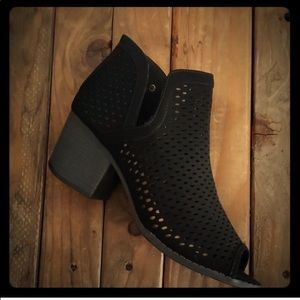 Lazer cut Black heel bootie